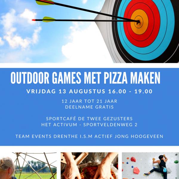 Outdoor games met pizza maken