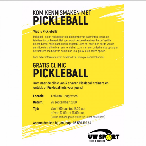 Gratis clinic Pickleball door ervaren trainers